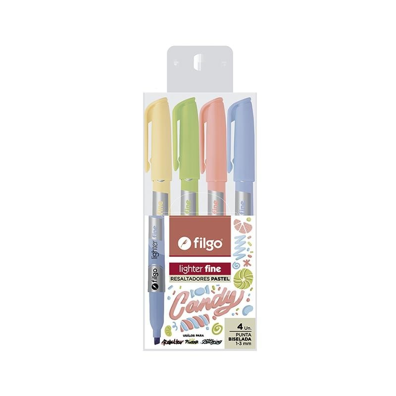 RESALTADOR FILGO LIGHTER FINE PASTEL CANDY BLISTER X 4